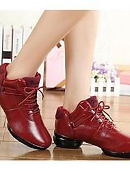 Non Customizable Women's Dance Shoes Leather Leather Dance Sneakers Flats Flat Heel Outdoor Black Fuchsia