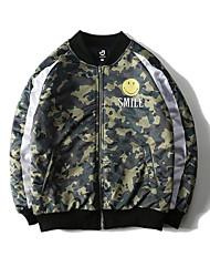 Men's Casual/Daily Simple Jackets,Camouflage Long Sleeve Green Cotton