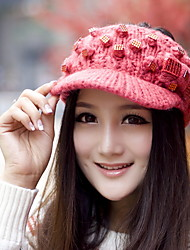 Lady All-Match Knitted Hat Diamond Decoration Cold Empty Top Hat Warm Cap