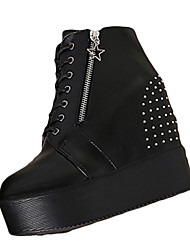 Women's Boots Winter Creepers PU Dress Casual Creepers Chain Black