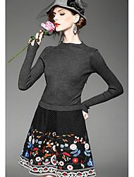 Ample Mousseline de Soie Robe Femme Sortie Décontracté / Quotidien Vintage Chic de Rue Chinoiserie,Couleur Pleine Géométrique GalaxieCol