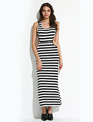 Women's Going out Sexy Bodycon Dress,Striped Round Neck Maxi Sleeveless Black Others Summer