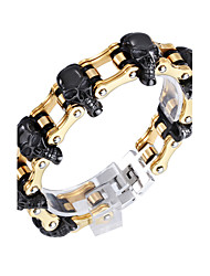 Men's Charm Bracelet Punk Rock Stainless Steel Gold Plated Skull / Skeleton Jewelry For Party Daily Casual