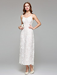 Lanting Bride® Sheath / Column Wedding Dress Simply Sublime Tea-length Spaghetti Straps Lace with Lace