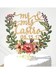Décorations de Gâteaux Personnalisé Couple classique Papier durci Mariage Commémoration Fête prénuptiale JauneThème de jardin Thème