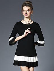 Trapèze Ample Noir et blanc Robe Femme Décontracté / Quotidien Soirée / Cocktail Grandes Tailles Vintage simple,Couleur Pleine Col Arrondi