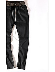 Men's Loose Chinos Pants,Casual/Daily Simple Solid Low Rise Button Cotton Micro-elastic Fall