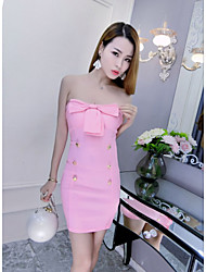 Women's Party Club Sexy Bodycon Sheath Dress,Solid Strapless Mini Sleeveless Pink Red White Black Cotton Summer High Rise