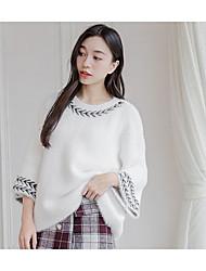 Damen Standard Pullover-Ausgehen Retro Solide Rosa Weiß Rundhalsausschnitt ¾-Arm Baumwolle Frühling Herbst Mittel Mikro-elastisch