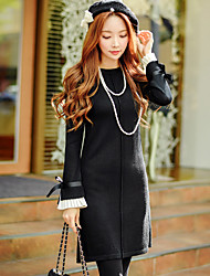 Women's Going out Casual Holiday Vintage Sophisticated Shift Sheath Sweater Dress Bow Ruched Crew Neck