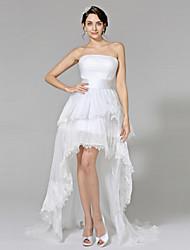 Lanting Bride® Robe de Soirée Robe de Mariage  - Chic & Moderne Petites Robes Blanches Asymétrique Sans Bretelles Dentelle Organza avec
