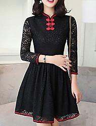 Women's Going out Vintage Sheath Dress,Solid Stand Above Knee ¾ Sleeve Red Black Cotton Polyester Spring High Rise Micro-elastic Medium