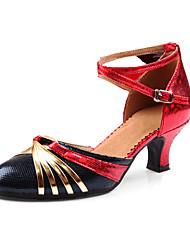 Chaussures de danse(Rouge noir Argent + Noir Noir rouge Or noir) -Personnalisables-Talon Bas-Similicuir-Latines Modernes
