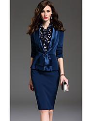 Set Jupe Costumes Femme,Couleur Pleine Habillées Travail Sophistiqué Printemps Automne Manches ¾ Col châle Bleu Autres Moyen