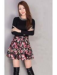 Women's A Line Floral Pleated Skirts,Casual/Daily Simple High Rise Above Knee Zipper PU Micro-elastic Fall / Winter