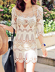 Women's Sexy Loose Beach Cover-Up Half Sleeve Lace Hollow Out Thin Coat Cotton Beige