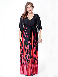 SWEET CURVE Women's Plus Size Boho Swing Dress,Print V Neck Maxi ½ Length Sleeve Black Polyester Spandex Spring Mid Rise Micro-elastic Medium