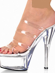 Damen-Sandalen-Hochzeit Kleid Party & Festivität-PVC-Stöckelabsatz Plateau Kristallabsatz-Light Up Schuhe Komfort Neuheit Fersenriemen
