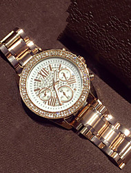 Women's Fashion Watch Quartz Imitation Diamond Alloy Band Rose Gold