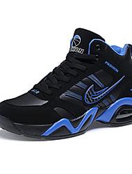 Masculino-Tênis-Conforto-Rasteiro-Azul Preto e Vermelho Preto e Branco-Couro Ecológico-Casual