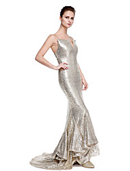 2017 TS Couture® Formal Evening Dress - Sparkle & Shine Trumpet / Mermaid Spaghetti Straps Sweep / Brush Train Sequined with Sequins