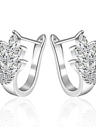 Hoop Earrings AAA Cubic Zirconia Zircon Cubic Zirconia Copper Silver Plated Fashion Silver Jewelry Daily Casual 1 pair