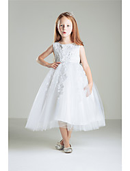 Princess Ankle-length Flower Girl Dress - Cotton Lace Sleeveless Jewel with Appliques Beading Bow(s) Lace