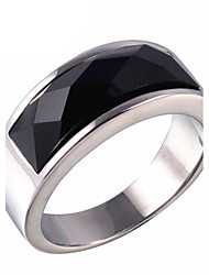 Men's Fashion 316L Titanium Steel Personality Vintage Onyx Agate Jewel Gold Silver Plating Rings Casual/Daily 1pc