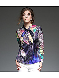 Women's Casual/Daily Sophisticated Spring Shirt,Print Boat Neck Long Sleeve Multi-color Polyester Sheer