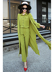 Women's Casual/Daily Work Street chic Spring Fall Shirt Pant Suits,Solid Shirt Collar Long Sleeve Inelastic