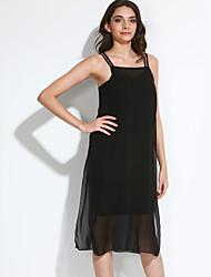 Women's Beach A Line Dress,Solid Halter Midi Sleeveless Black Cotton Summer