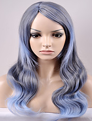 Europe and the United States new section of the side points in the gray and blue mixed wave wave high temperature wire wig