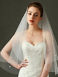 Hochzeitsschleier Einschichtig Ellbogenlange Schleier Fingerspitzenlange Schleier Schnittkante Perlenbesetzter Saum Tüll