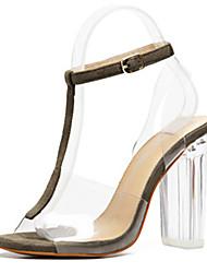 Femme-Bureau & Travail Habillé Décontracté-Café-Gros Talon Talon translucide Block Heel-Nouveauté A Bride Arrière-Sandales-PVC