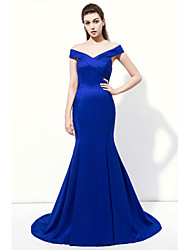 Formal Evening Dress - Sexy / Elegant Trumpet / Mermaid V-neck Floor-length Charmeuse with Criss Cross