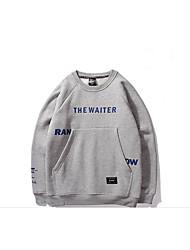 Sweatshirt Hommes Grandes Tailles Décontracté / Quotidien simple Couleur Pleine Lettre Col Arrondi Non Elastique Coton Manches Longues