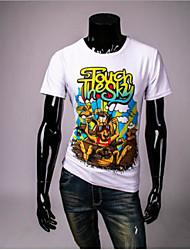 Herren Tierfell-Druck Einfach Ausgehen Lässig/Alltäglich T-shirt,Rundhalsausschnitt Sommer Kurzarm Weiß Seide Dünn