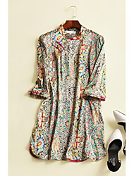 Women's Going out Beach Vintage Boho A Line Swing Dress,Floral Ruffle Pleated Stand Above Knee Long Sleeve Silk Green Spring Mid Rise