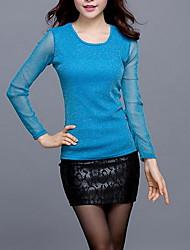 Damen Solide Einfach Übergröße T-shirt,Rundhalsausschnitt Frühling Langarm Blau Gold Silber Polyester