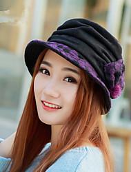 New Korean Lady Polka Dot Bow Wool Basin Hat Fashion Hat
