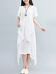 Women's Casual/Daily Street chic Loose Dress Solid Asymmetrical False Two Short Sleeve Cotton /Linen White /Gray /Orange Summer