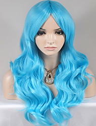 Women Synthetic Wigs Blue Hair Long Body Wave Fashion Party Wig For Halloween