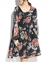 Women's Going out Beach Holiday Vintage Boho Street chic Loose Chiffon Dress,Floral Patchwork Ruffle Ruched Round Neck Above KneeLong