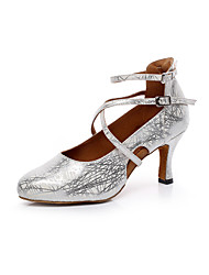 Women's Dance Shoes Leatherette Leatherette Latin / Salsa Sandals Chunky Heel Professional / Indoor Silver / Gold