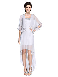LAN TING BRIDE Sheath / Column Mother of the Bride Dress - Elegant Asymmetrical Half Sleeve Chiffon with Sequins