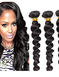 "Mixed length 20"" 22"" 24"" Loose Wave Brazilian Virgin Hair Weave 3 Bundles 300 Grams Unprocessed Natural Color Extensions"