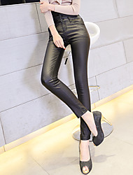 Matte PU leather pants female outer wear leggings high waist pencil pants breasted Slim skinny pants trousers