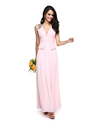 LAN TING BRIDE Floor-length V-neck Bridesmaid Dress - Beautiful Back Sleeveless Georgette