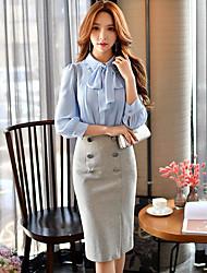 Damen Röcke,Stifte Bodycon einfarbig Geschlitzt,Ausgehen Lässig/Alltäglich Arbeit Einfach Niedlich Street Schick Hohe Hüfthöhe Knielänge