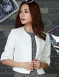 Women's Going out Party/Cocktail Holiday Sexy Cute Sophisticated Jackets,Solid Round Neck ½ Length Sleeve Spring Fall White Black